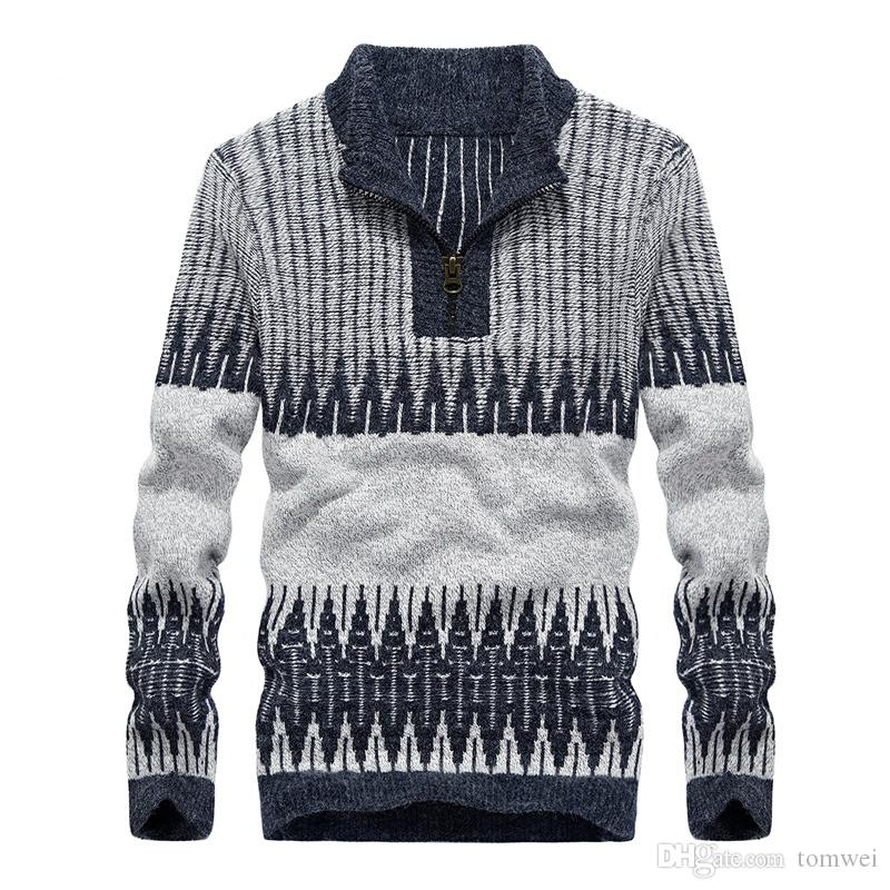2019 Men Woolen Sweaters Pullover Knitted Sweater Half Zipper O Neck