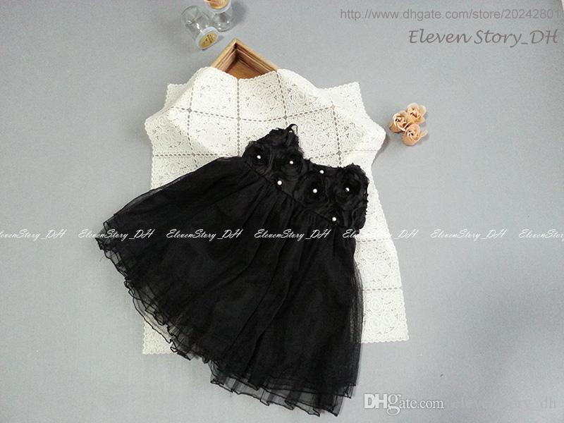 Girls suspender flowers beading dresses summer baby kids tulle clothing wholesale pearls wear wedding/party 200ES12DS-74PO