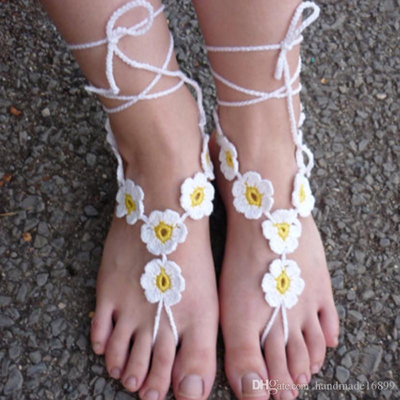 Pattern Crochet Barefoot Sandals Nude Shoes Wedding Victorian