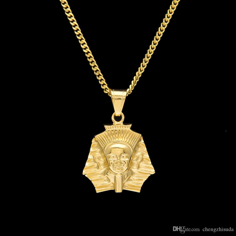 77958f86e7180 Fashion Gold Plated Ancient Egypt King Pharaoh Pendant Necklace Cuban Chain  Stainless Steel Men s Hip Hop Bling Jewelry