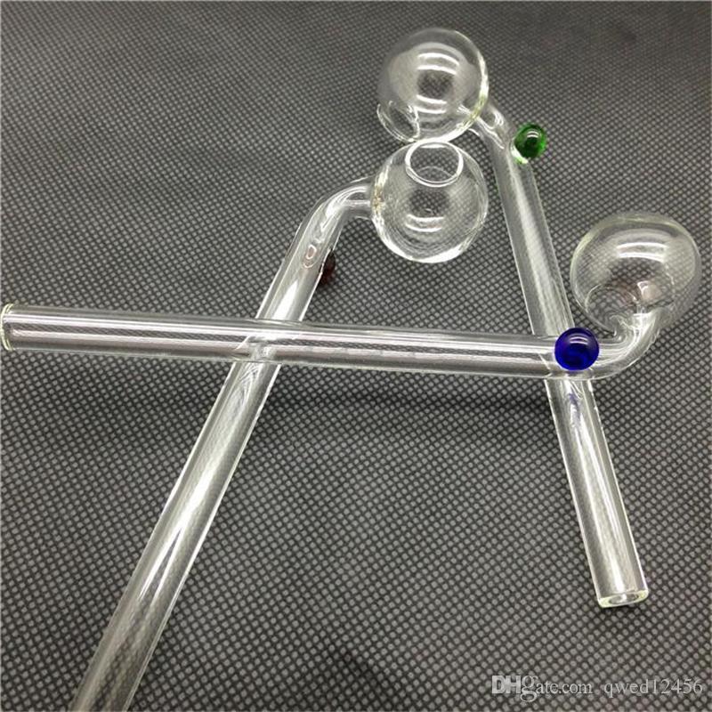 Bruciatori di olio curvo di vetro di 12-16cm Tubi di vetro di tubi asciutti che fumano i tubi con il compensatore di vetro colorato differente