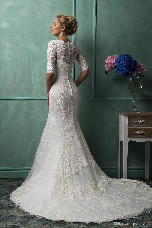 Половина с длинными рукавами кружева русалка свадебные платья 2021 с аппликациями пользовательские V-образным вырезом придворные свадебные платья Vestido de Noiva