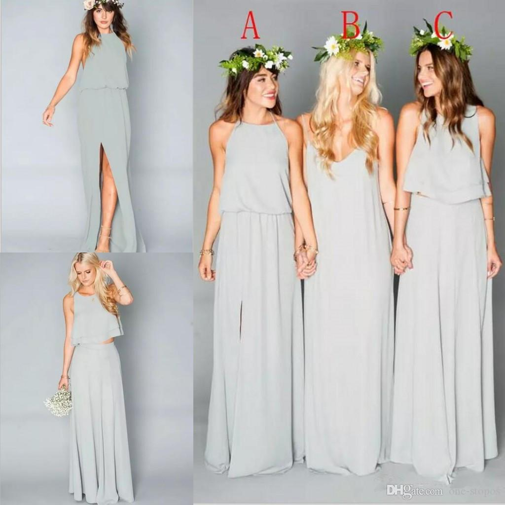 2016 new beach chiffon long bridesmaid dresses ruffles bohemian 2016 new beach chiffon long bridesmaid dresses ruffles bohemian floor length summer two pieces split party maid of honor bridesmai gowns jim hjelm ombrellifo Image collections