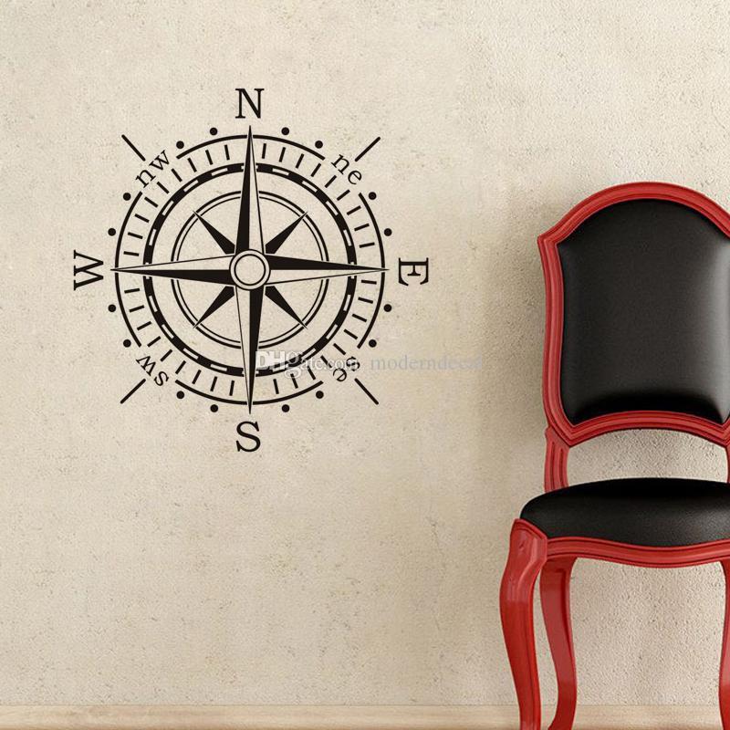 Brújula náutica Pegatinas de pared Decoración para el hogar Productos para la creatividad Pegatinas de pared de dormitorio de los niños Pegatinas de vinilo de arte