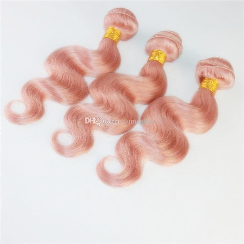 Розовый Человеческие Волосы С Кружевом Фронтальной Розовой Розы Салон Популярный Цвет Тела Волны Кружева Фронтальной С Пучками Детские Розовые Бразильские Девственные Волосы