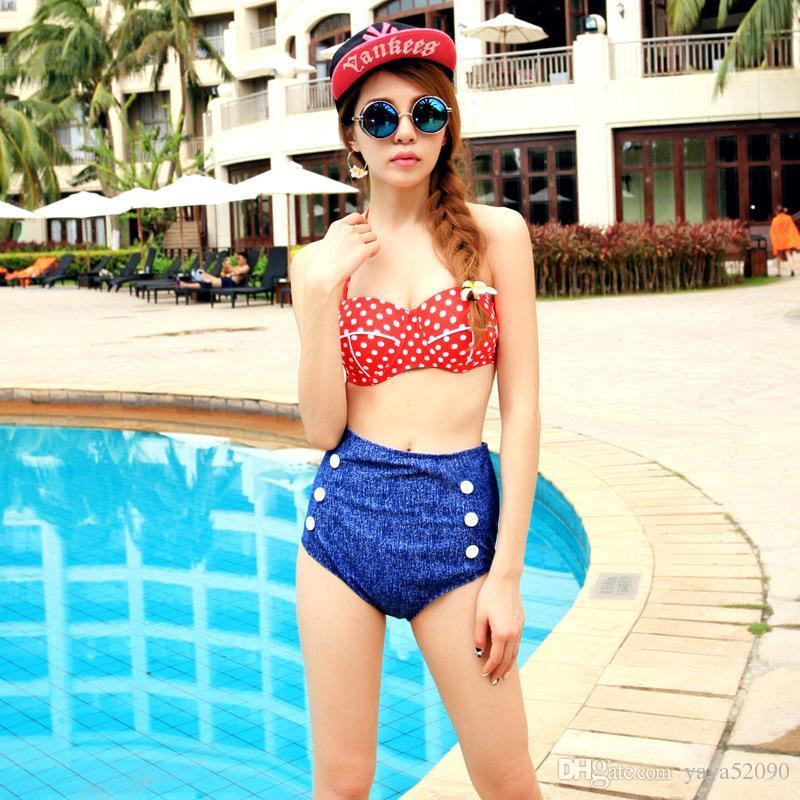 Moda Cutest Retro Swimwear Swimwear Vintage Pin Up Bikini A Vita Alta Set Polka Dot Bikini costume da bagno spedizione gratuita in magazzino