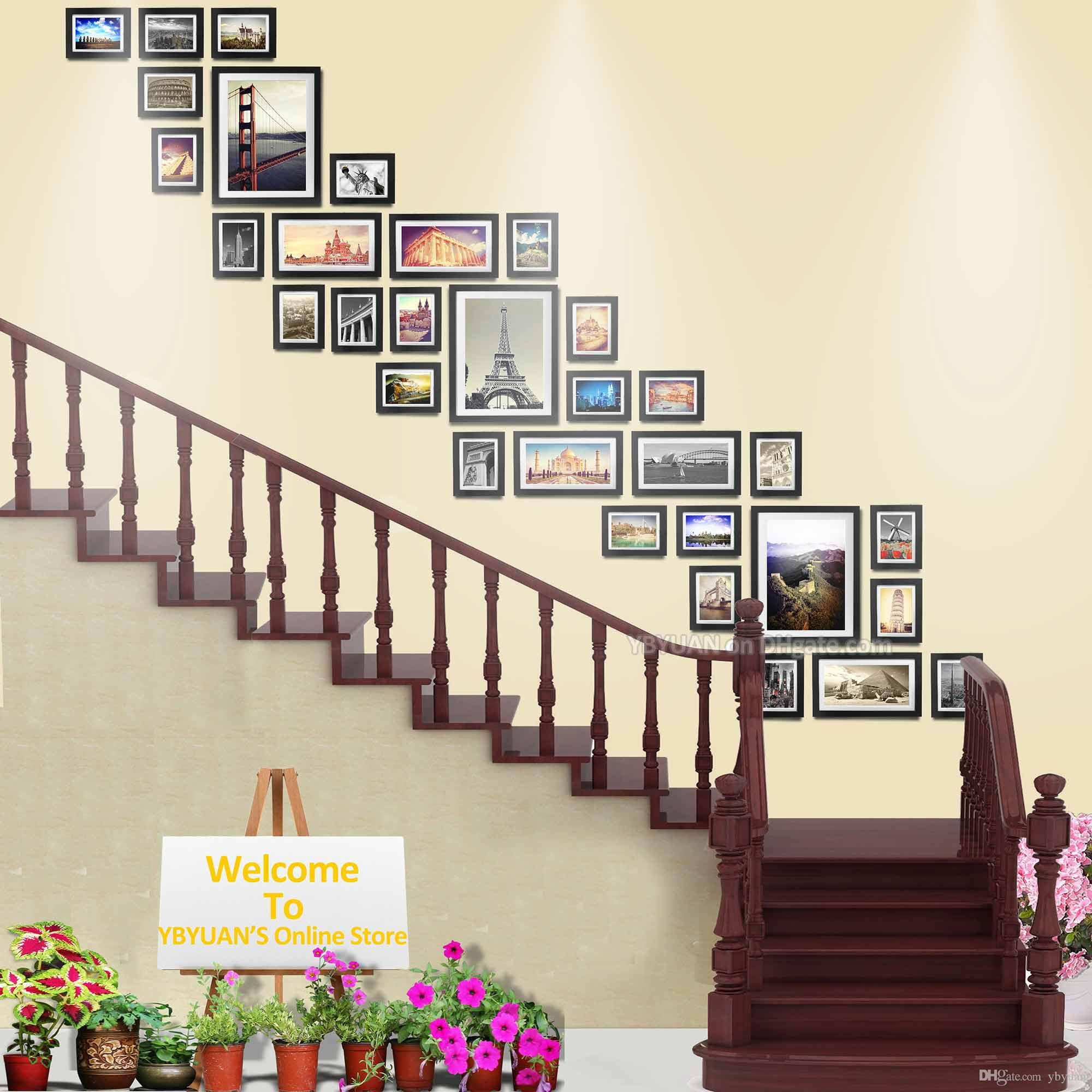 Large Wood Photo Frames Stairwell Gallery Wall 32PCS/Set Modern Style Flat Moulding Border Wooden Picture Frame With Mounts Stairway Decor