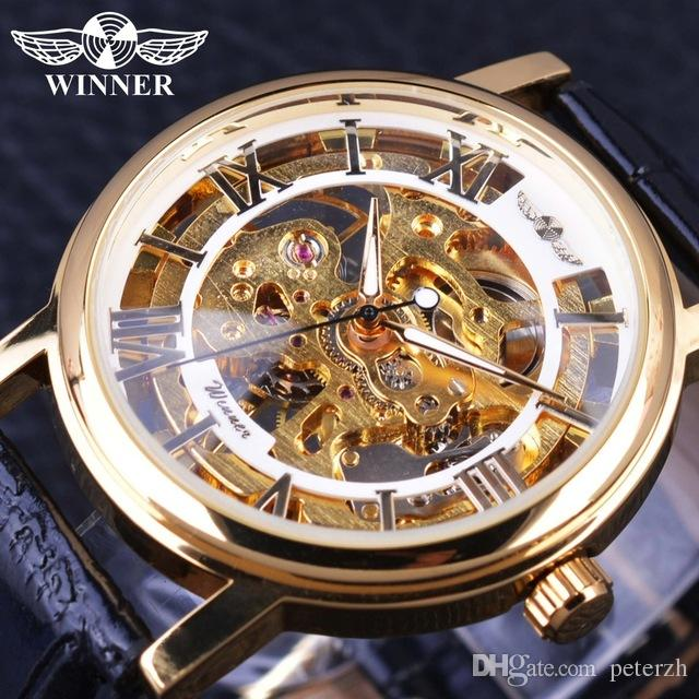 Mechanical Watches The Cheapest Price Winner Men Dress Fashion Automatic Mechanical Watch Leather Strap Super Roman Number Skeleton Dial Cool Black Design Wristwatch Watches