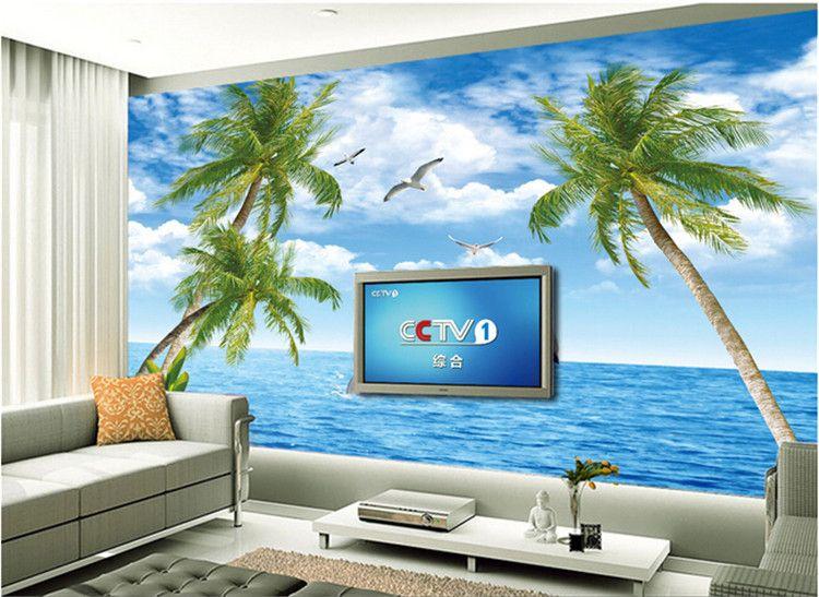 3D Ocean View Dolphin Wallpaper TV Camera sfondo sfondo Soggiorno Ristorante grande affresco Seamless Wallpaper Paesaggio