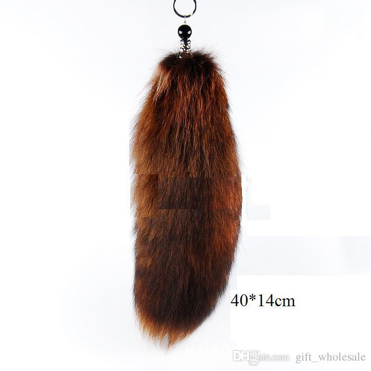 도매 -30-47cm 정품 레드 폭스 실버 폭스 테일 키 체인 모피 술 가방 태그 참 열쇠 고리 무료 배송