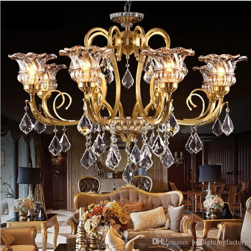 Crystal Modern Copper Chandeliers Hanging Lamp Led Vintage Wrought Restaurant Dining Room Living Hotel Clothing Store Lighting Overstock