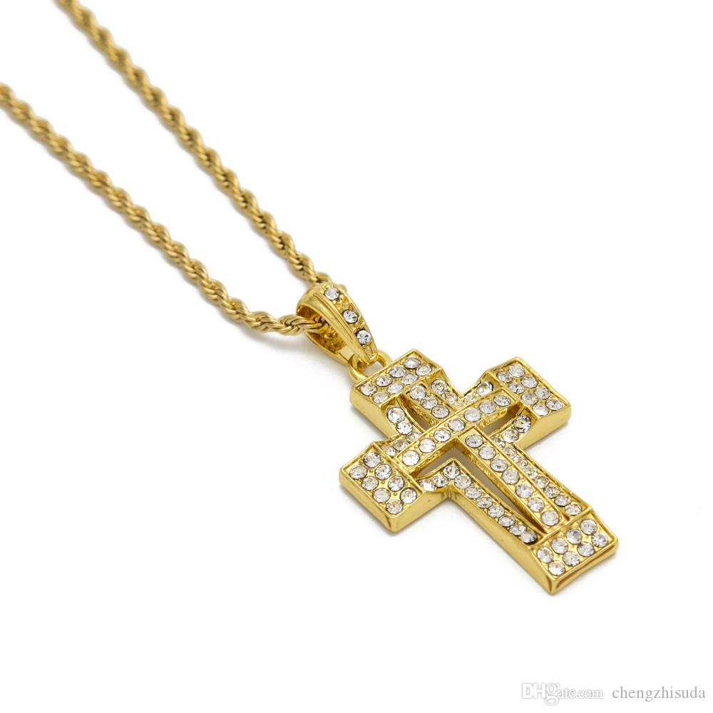 New hip hop 24k goldsilver men vintage jewelry crystal double cross new hip hop 24k goldsilver men vintage jewelry crystal double cross pendant necklace women gift body chain necklaces double cross necklace double cross aloadofball Gallery