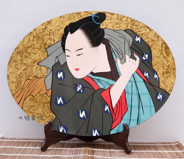 Giappone lacca giapponese artigianato pittura decorativa pittura ornamenti artigianali ventilatore tavolo varietà ovale