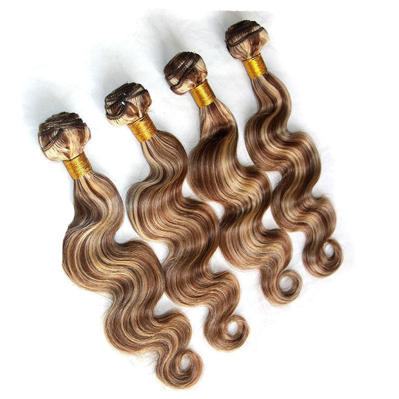 P4/27 Piano Brazilian Body Wave Hair Weaves Cheap Human Hair Bundles Highlight Virgin Remy Hair Extensions Double Weft 10-30 inch