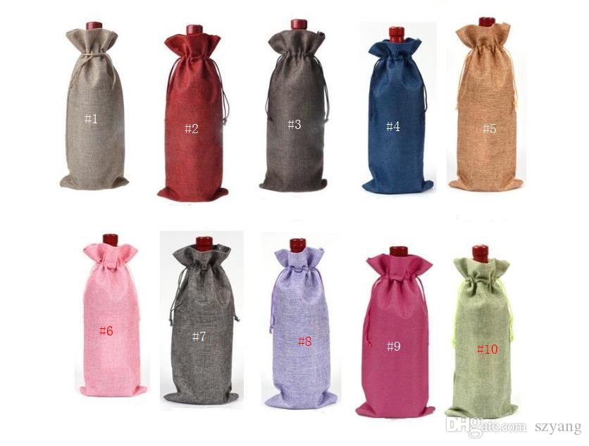 16 * 36cm Linen Cordon Vin Rouge Sacs Sacs Bouteille De Vin Emballage Jute Rouge Pochettes De Vin Rouge Logo personnalisé