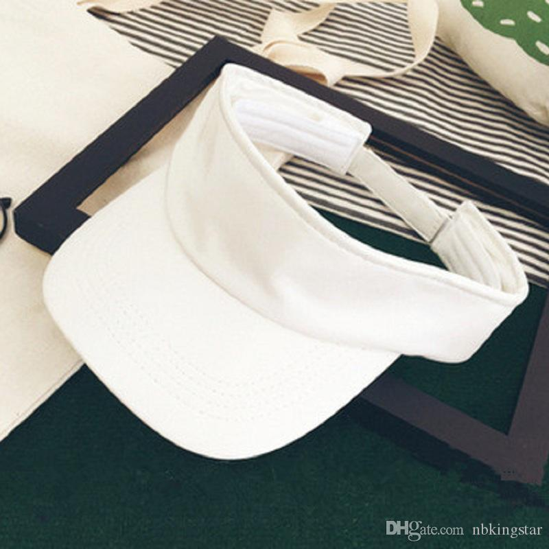 Fashion Unisex PU Leather Visor Empty Top Sun Hat Brim Blank Elastic Band Caps Summer UV Protection Hats For Men And Women