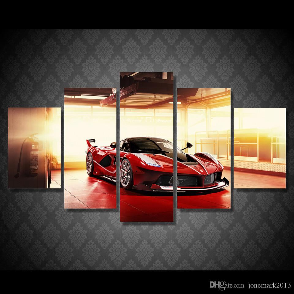 Framed HD Printed Red Luxury Sports Car Picture Wall Art Canvas Print Decor Poster Canvas Modern Oil Painting