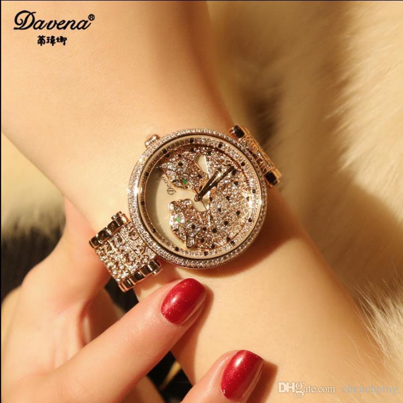2017 Latest Style Diamond Leopard Bracelet Watch Waterproof Fashion ...