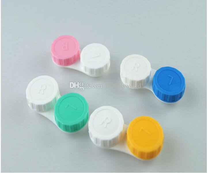 Fahion Contact Lens Storage Case Kit Mate Double Lens Box L and R Lid lovely Colorful Contact Lens Case
