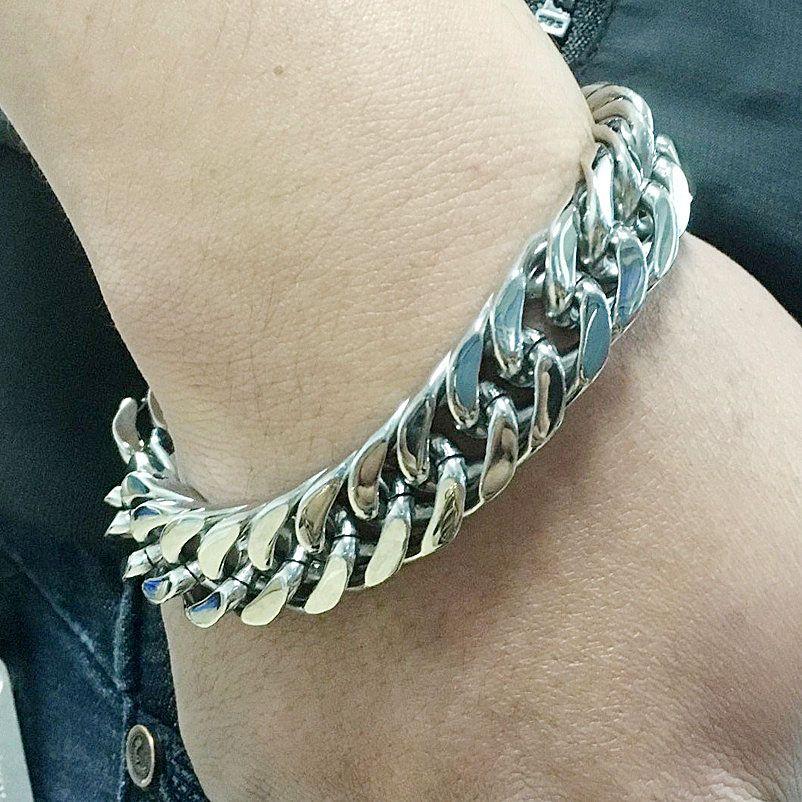 Titanium Steel Men Jewlery Fashion Cuban Link Chain Bracelets Punk Bangle Twisted Pulsera Gold Silver 22cm*1.5cm
