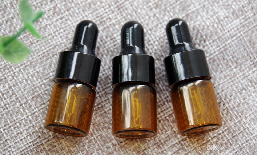 Bernstein Tropfflasche 1 ml 2 ml 3 ml 100 stücke Mini Glasflasche Ätherisches Öl Display Fläschchen Kleine Serum Parfüm Bernstein Farbe
