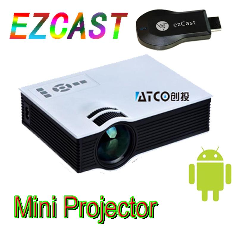 Wholesale-New projector keystone EZCast wifi display Mirror 1300Lumens HD TV led mini video lcd 1080p 3d home Proyector Projetor