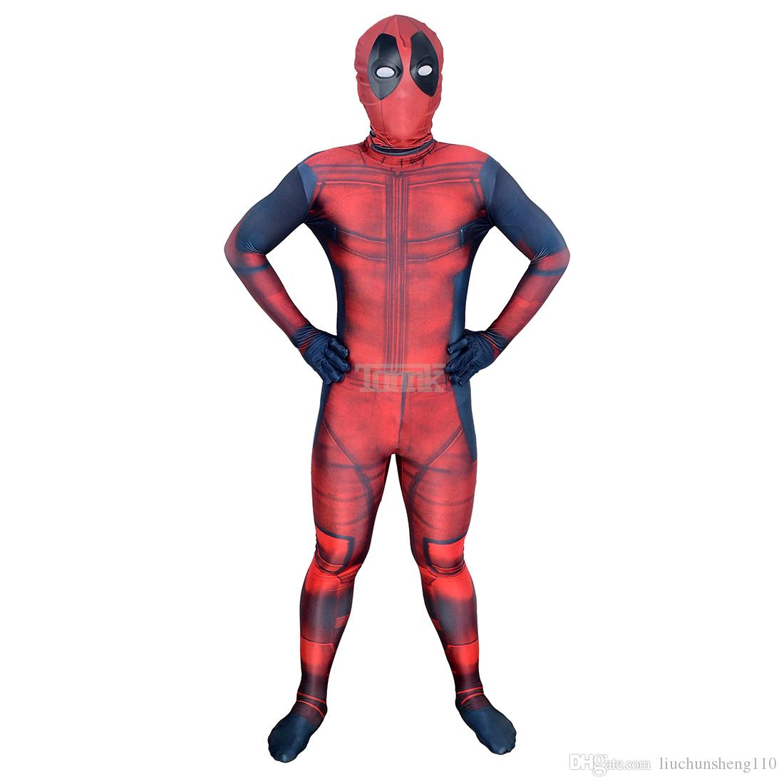 Kids 3D Deadpool 3D X-Men Deadpool Halloween Cosplay Superhero Lycra Spandex Zentai Suits Deadpool Costume Unisex