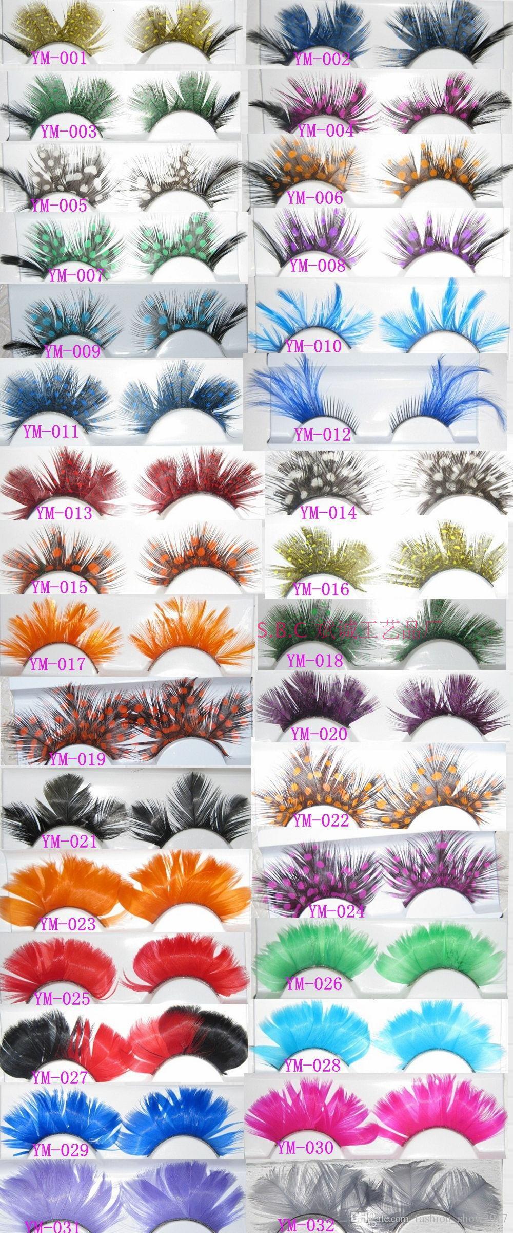 Colorful Feather False Eyelashes for Party makeup or Exaggerated Maquiagem White Spots Feather Eyelashes