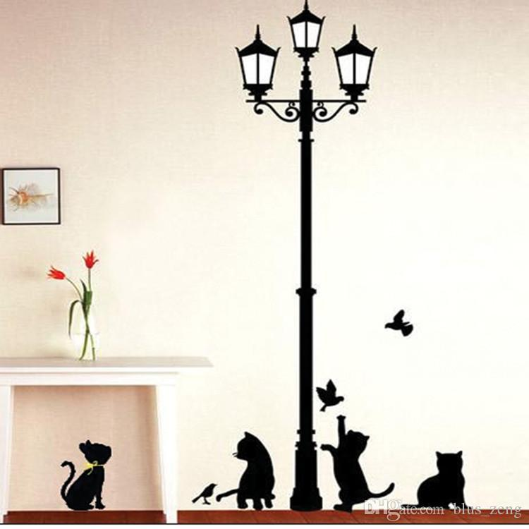5070cm Street Light And Black Cat Wall Stickers Diy Art Decal