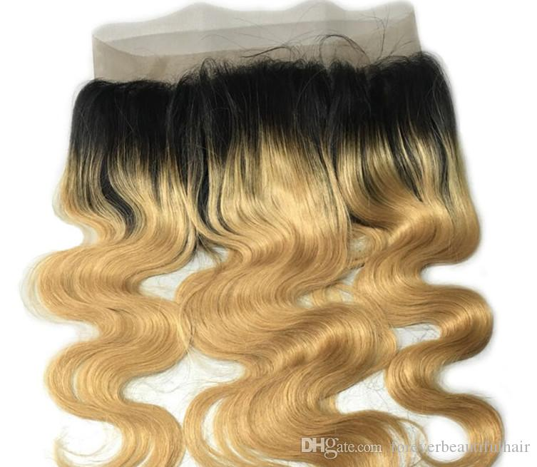 Dark Root Two Tone Ombre 360 Lace Frontal Closure Body Wave T1b 27 Peruvian Virgin Hair Pre Plucked 360 Lace Closure 22.5*4*2