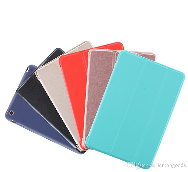 For iPad Air 2 Air Case Slim Pu Leather+Silicone Soft Back Smart Cover Stand Auto Sleep for Apple iPad Air / 5 6