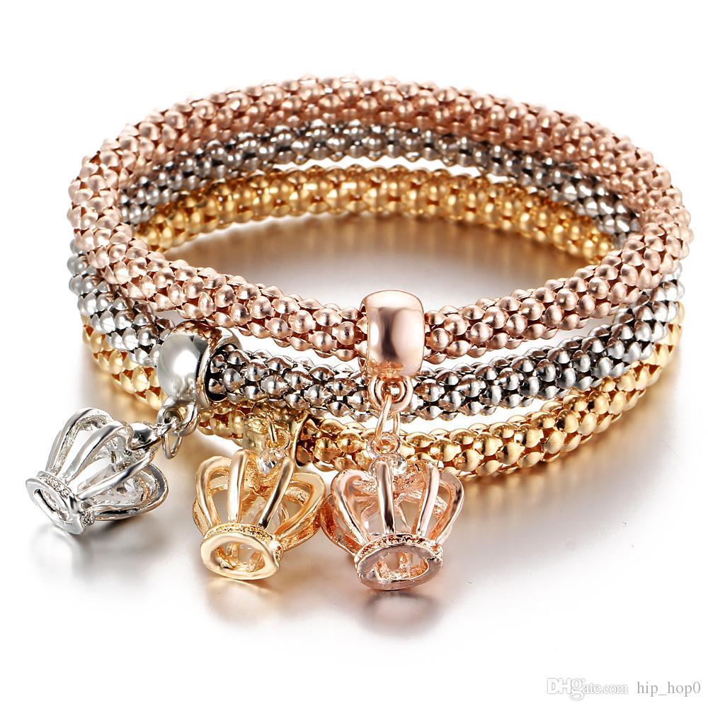 Best Charm Bracelet: Crown Rhinestone Crystal Charm Bracelet In One Sets