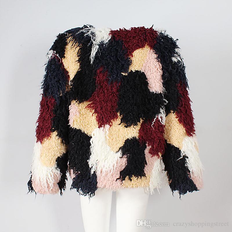 New Color-Block Wool Blend Coat For Women Long Sleeve V-Neck Faux Fur Short Jacket Girls Punk Outwear Autumn Winter Casual Overcoat