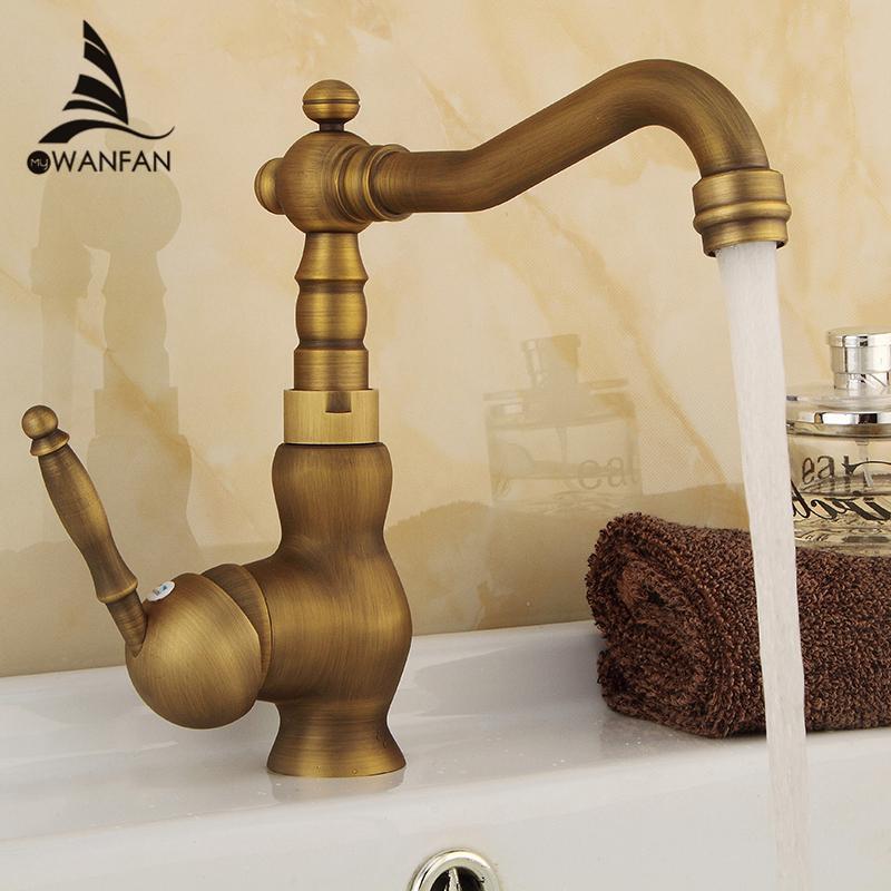2018 Antique Brass Finish 360degree Swivel Brass Faucet Bathroom ...