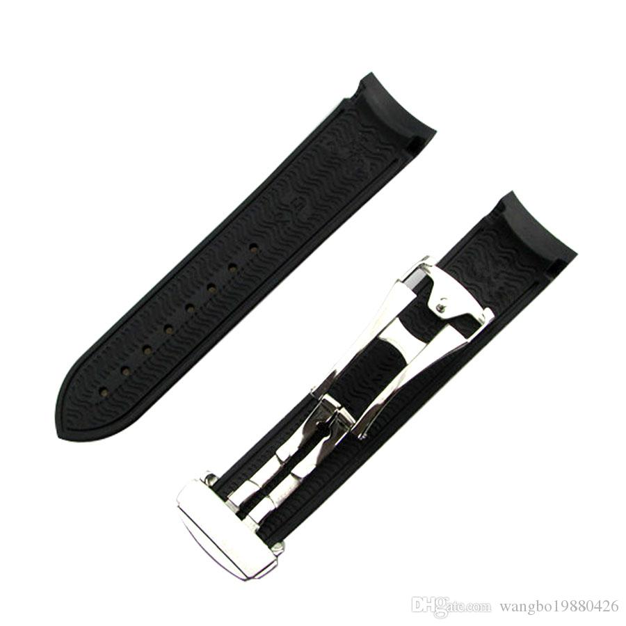 20mm NEW Black Diver Rubber band strap with deployment clasp For Omega Watch