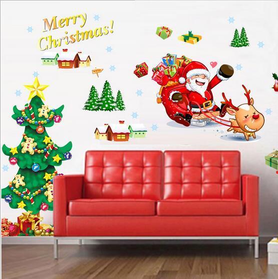 Sıcak Yaratıcı Santa Kardan Adam Yeni Yıl Düzeni Oturma Odası Pencere Arka Plan Dekorasyon Çıkarılabilir Duvar Boyama Paster