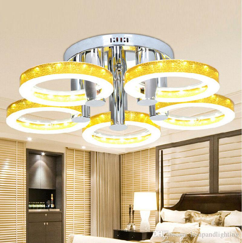 현대 라운드 5 링 아크릴 SMD LED 천장 램프 4 색 Luminarias 드 Teto Plafons 거실 침실 실내 조명을위한 LED