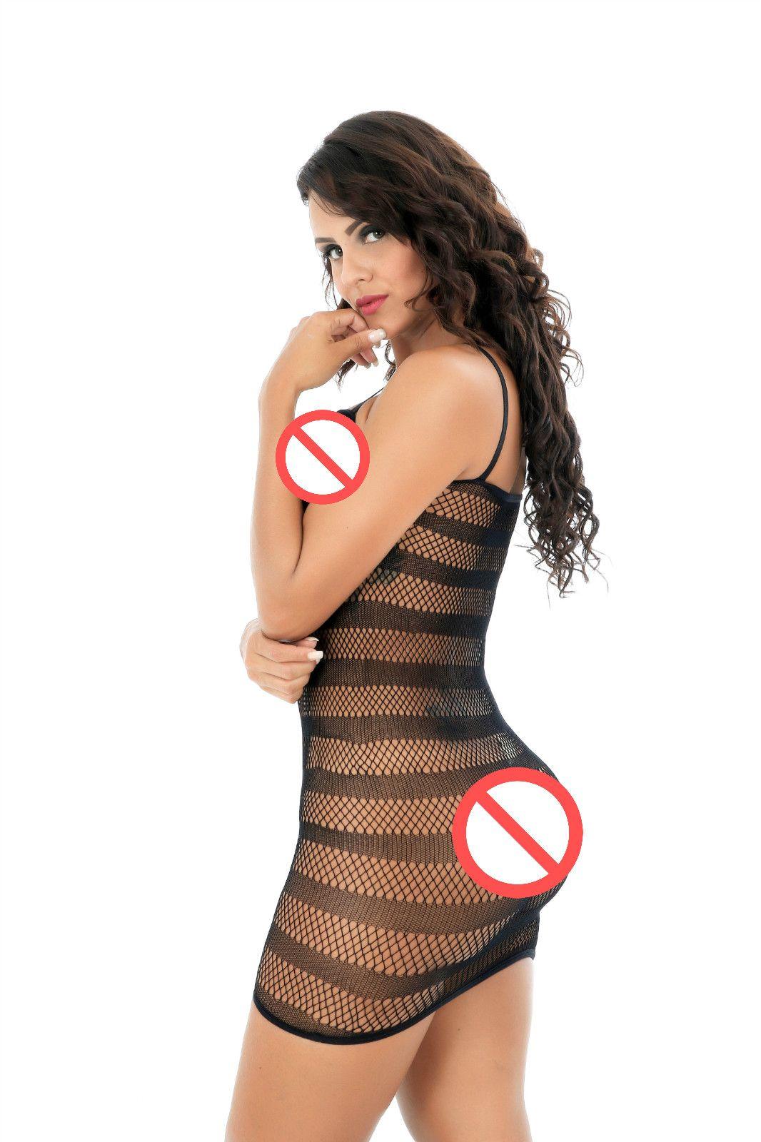 Kadın File İç Çizgili Mini Elbise Askı Chemise Kadın Kadın Erotik Porno Seksi İç File Sorunsuz Kasık Mini Elbise