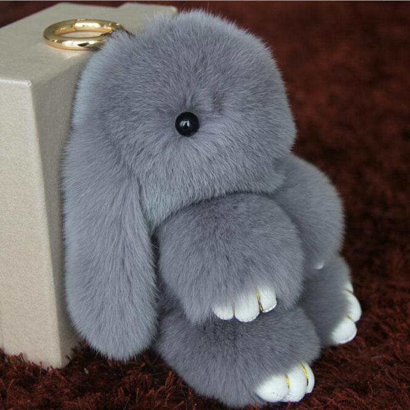 Multicolor 13cm lindo conejo muñeca llavero bolsa de teléfono Real Rex conejo pelo piel bolsas colgantes colgantes coche Keychain