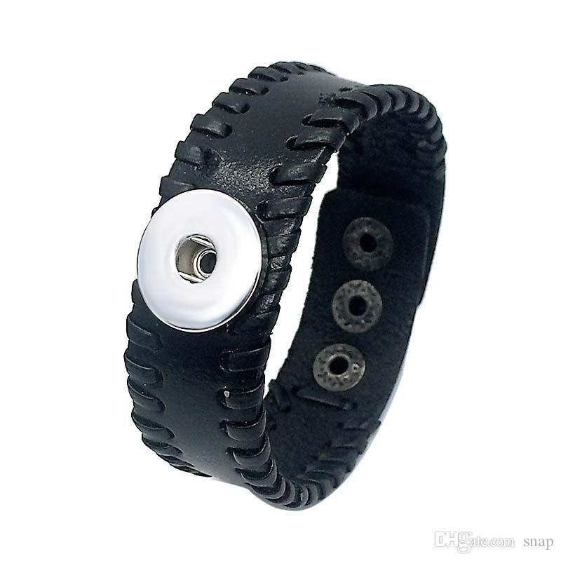 Braccialetto di cuoio genuino del braccialetto di fascino di scatto dello zenzero 18mm del braccialetto genuino di Fashiong 162 del braccialetto genuino di Noosa