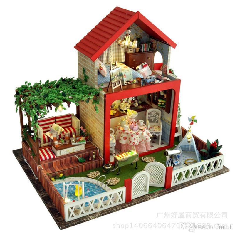 midsummer night dream house building model manually diy hut villa christmas birthday musicsound quality express free postage model villa doll houses house - Dream House Model