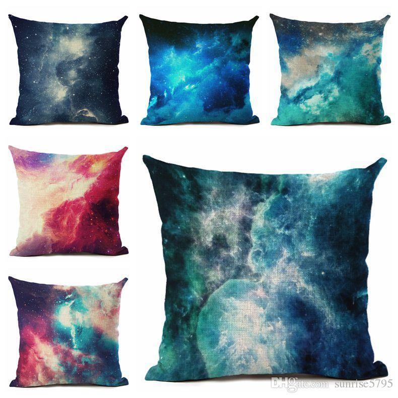 bbfdb757698f18 Céu estrelado capa de almofada criativa nebulosas modern decorativa  almofadas caso colorido sofá chaise lounge cojines 45 cm