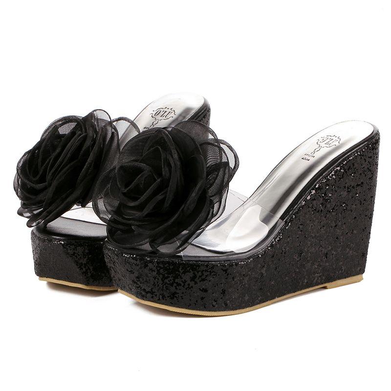 b27ed7943ac N251 Black Rose Platform Sandal Women Transparency Paillette Slipper ...