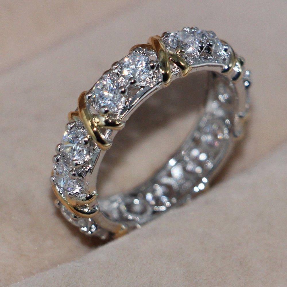 فيكتوريا wieck الخلود النساء 3 ملليمتر توباز مقلد الماس 10kt الذهب الأصفر الأبيض معبأ خاتم الزواج المشاركة الفرقة sz 5-11