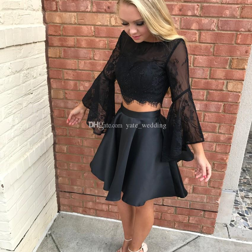 Long Sleeves Two Piece Black Homecoming Dresses Bateau Neck Lace