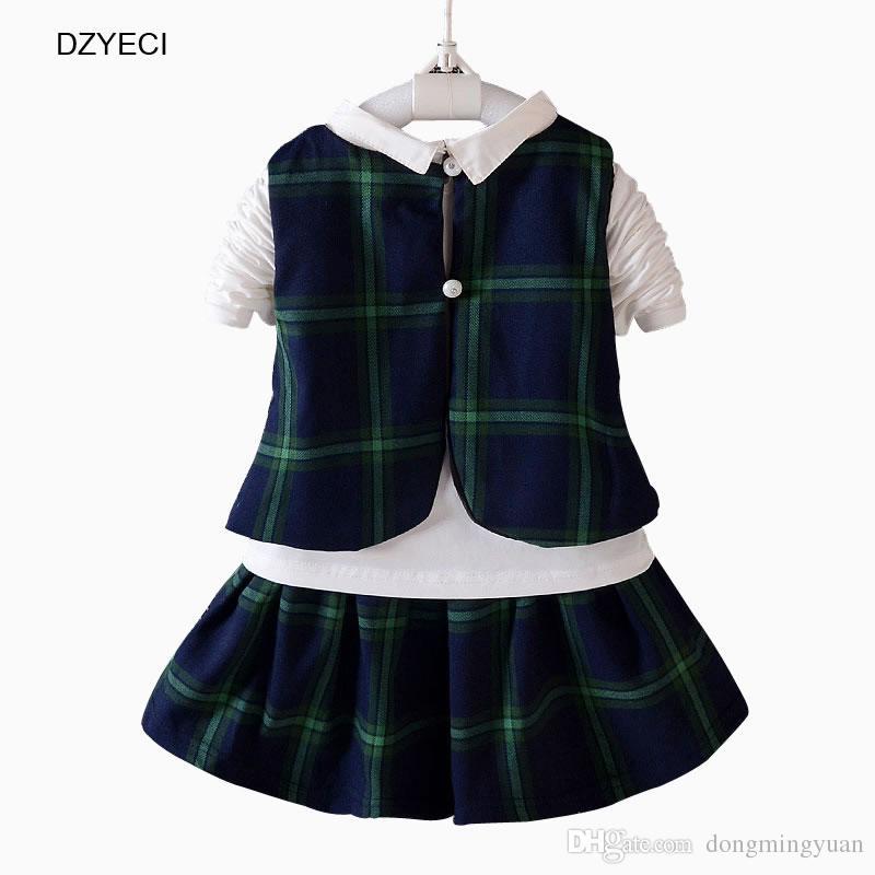 Autunno Inverno Uniforme scolastica Set Neonata Vestiti Outfit Bambini Vest + Bow Bianco Maglietta Top + Gonna Tuta Kid Wear Costume
