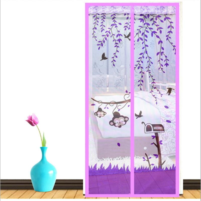 Magnetic Screen Door Curtain Window Anti Mosquito Bedroom High Grade Magnet Soft Scenery Living Room Sheer Curtains Flies Lilac Beige