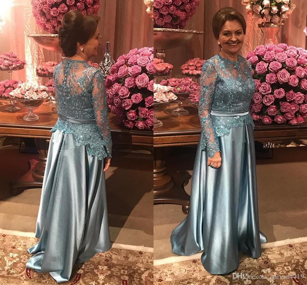 2018 Mother Of The Bride Dresses Jewel Neck Lace Applique Beaded Long Sleeves Button Back Sash Long Satin Mermaid Evening Wear Prom Dresses