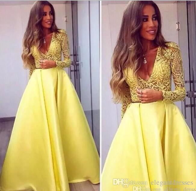 2018 Elegant Yellow Dubai Abaya Long Sleeves Evening Gowns V neck Lace Dresses Evening Wear Prom Party Dresses