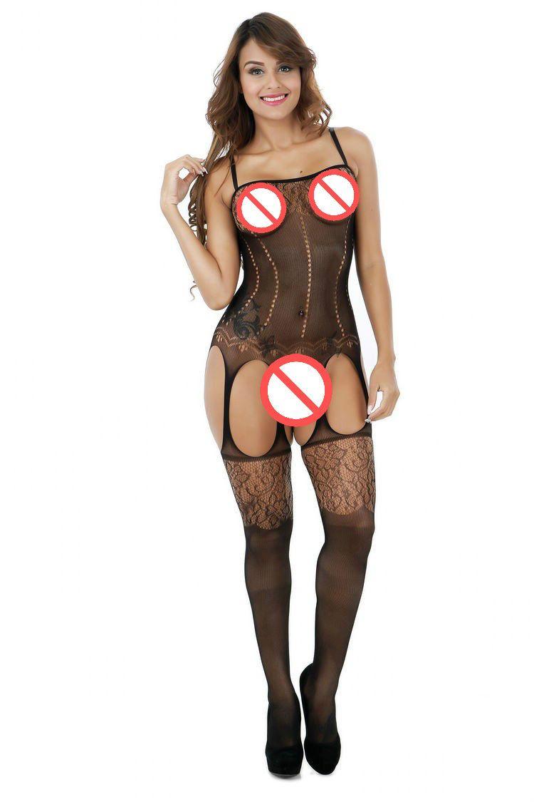 Sex biancheria intima delle donne sexy di Hot Bodystocking della biancheria sexy nero aperto della biforcazione della Tentazione Calze Body con vestiti erotici